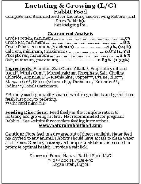 Baby Rabbit Food Label
