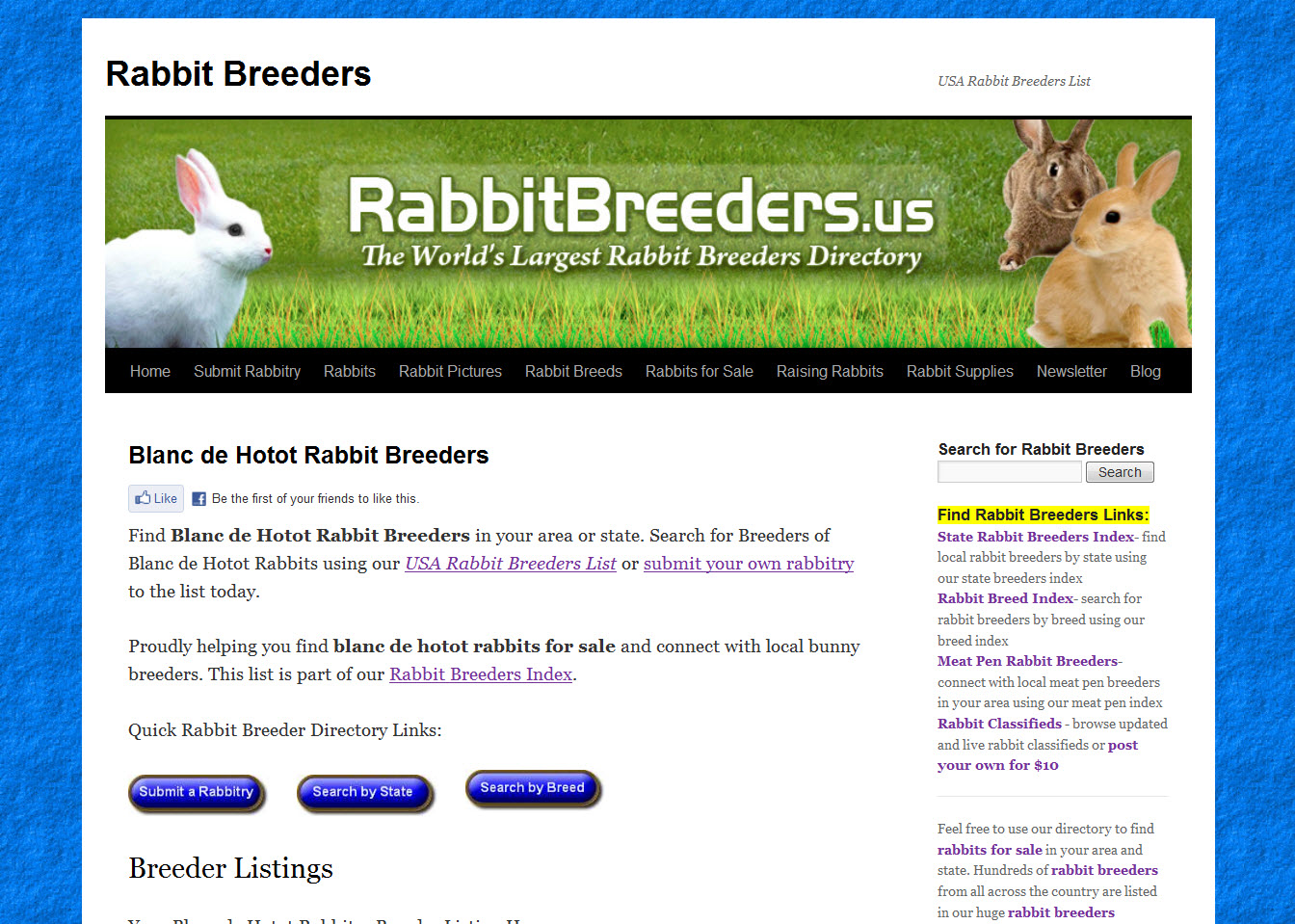 Blanc de Hotot Rabbit Breeders