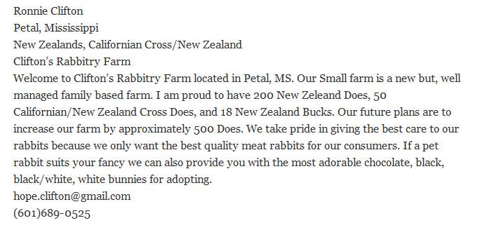 Clifton's Rabbitry Farm