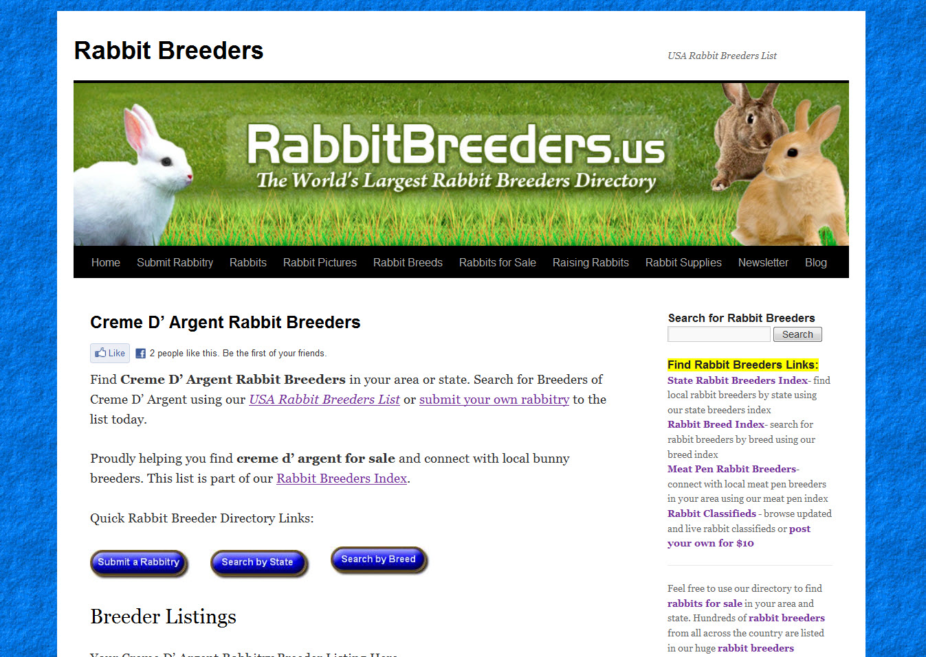 Creme D' Argent Rabbit Breeders