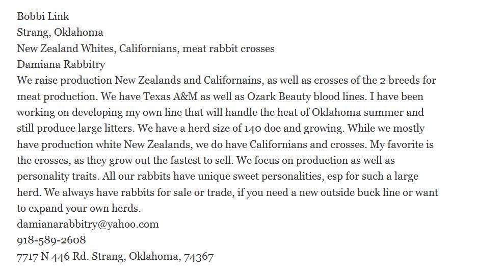 Damiana Rabbitry   USA Rabbit Breeders