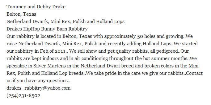 Drakes Hip Hop Bunny Barn Rabbitry