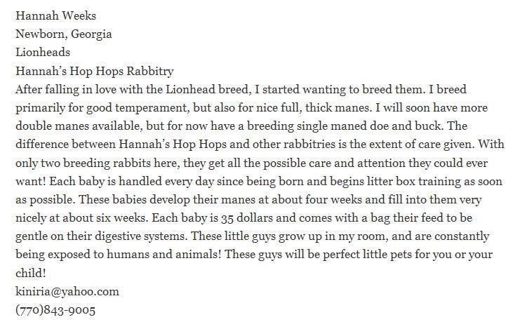 Hannah's Hop Hops Rabbitry