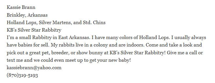 KB's Silver Star Rabbitry