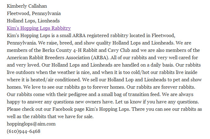 Kim's Hopping Lops Rabbitry