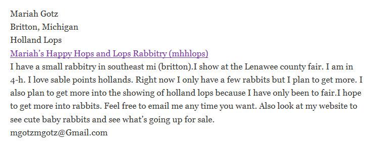Mariah's Happy Hops and Lops Rabbitry