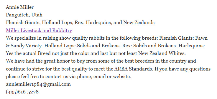 Miller Livestock Rabbitry
