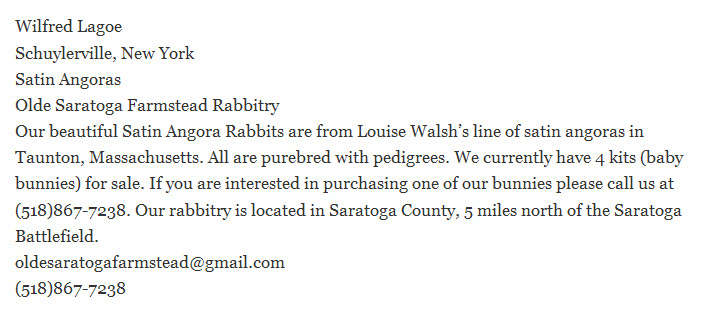Olde Saratoga Farmstead Rabbitry