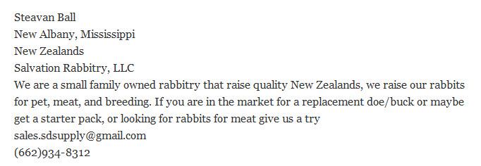 Salvation Rabbitry LLC