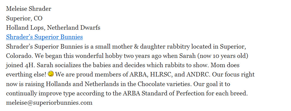 Shrader's Superior Bunnies Rabbitry
