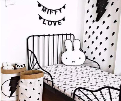 Black and White Bunny Cushion Pillow