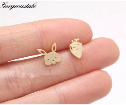 Bunny and Carrot Stud Earrings
