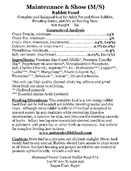 Maintenance Rabbit Food Label